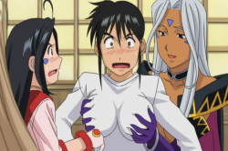 Urd feeling Keiichis breasts