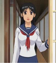 Keiichi wearing a girls school uniform