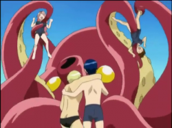 Kirie and Miharu with the tentacle monster