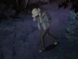 Hazumu as a boy in the woods