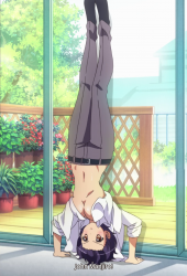 Kanade as a girl doing a headstand
