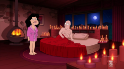 Stan and Bullock in the bedroom